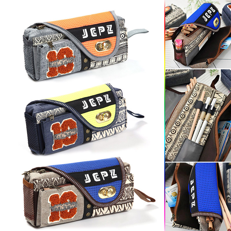 Cute Kawaii Cartoon Multilayer Pencil Bag Large Zipper Canvas Pencil Case For Kids Korean Stationery Free Shipping cute cartoon cat pattern pencil bag creative pencil case storage bag kawaii student stationery bag school stationery supplies