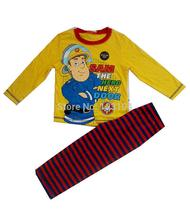 Nouvelle arrivée 2015 Pompier Sam vêtements ensembles SAM printemps pyjama automne de mode long T-shirt carton coton garçon vêtements de nuit 1 set