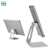 YUNAIUniversal Aluminum Tablet Holder Stand For iPad Anti Skid Adjustable Metal Tablet Stand Mount Holder For iPhone For Kindle
