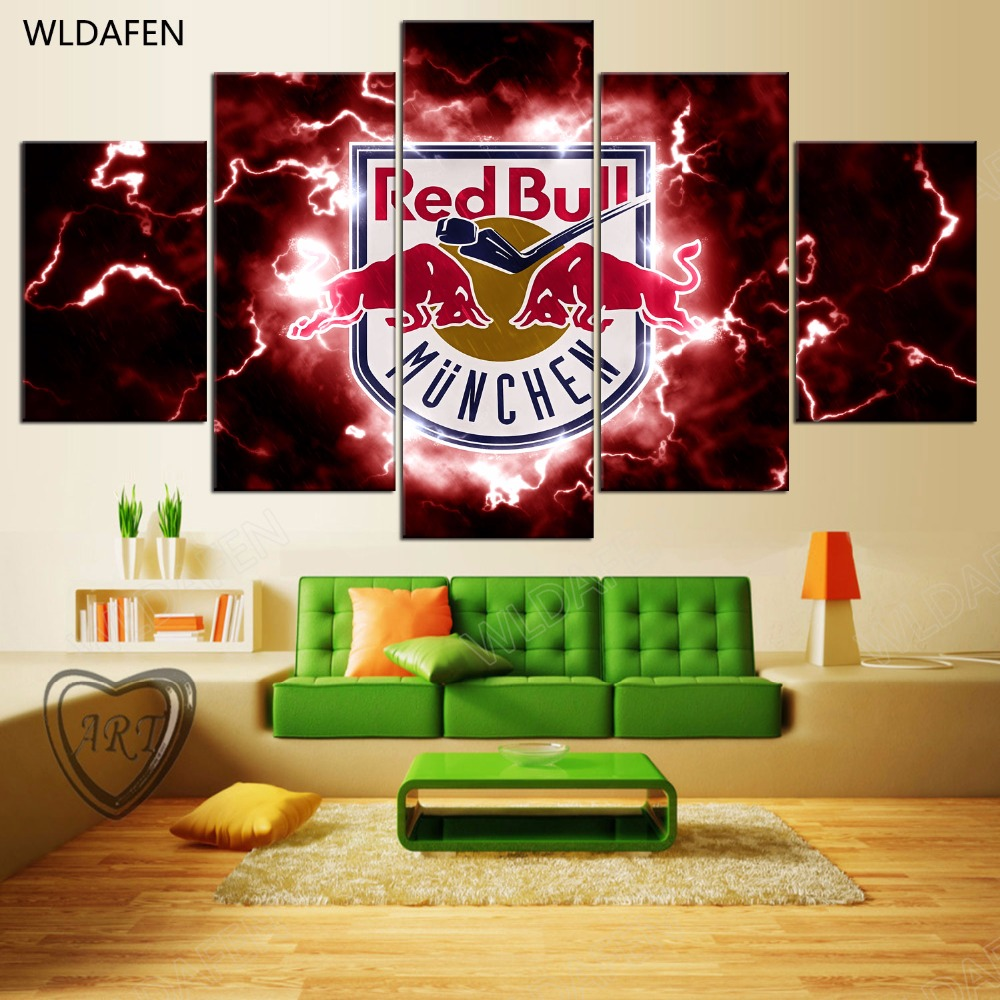 5 Pieces Sports Team Deco Fans Posters Oil Painting On Canvas Modern Home Pictures Prints Decor Living Room PH4-1743