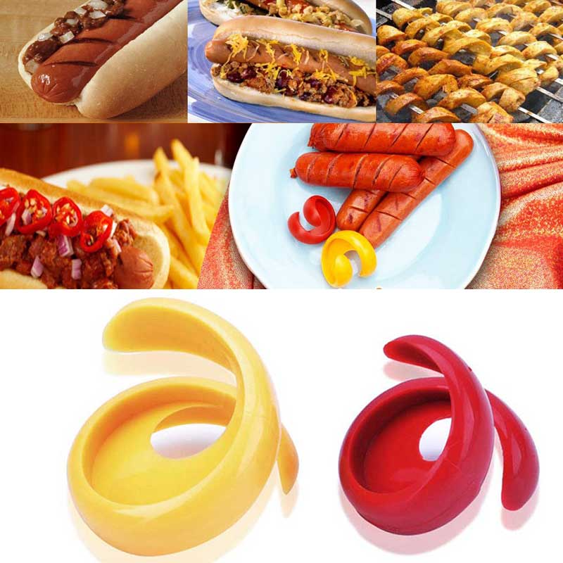 2Pcs Manual Fancy Sausage Cutter Plastic Spiral Dog Cutter Slicer For Cute Kitch