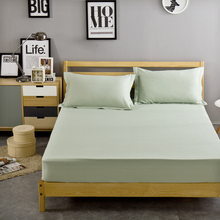 Cotton solid bed sheet light green fitted sheet bedding sheets twin full queen size bedsheet pad protector sheet for adults
