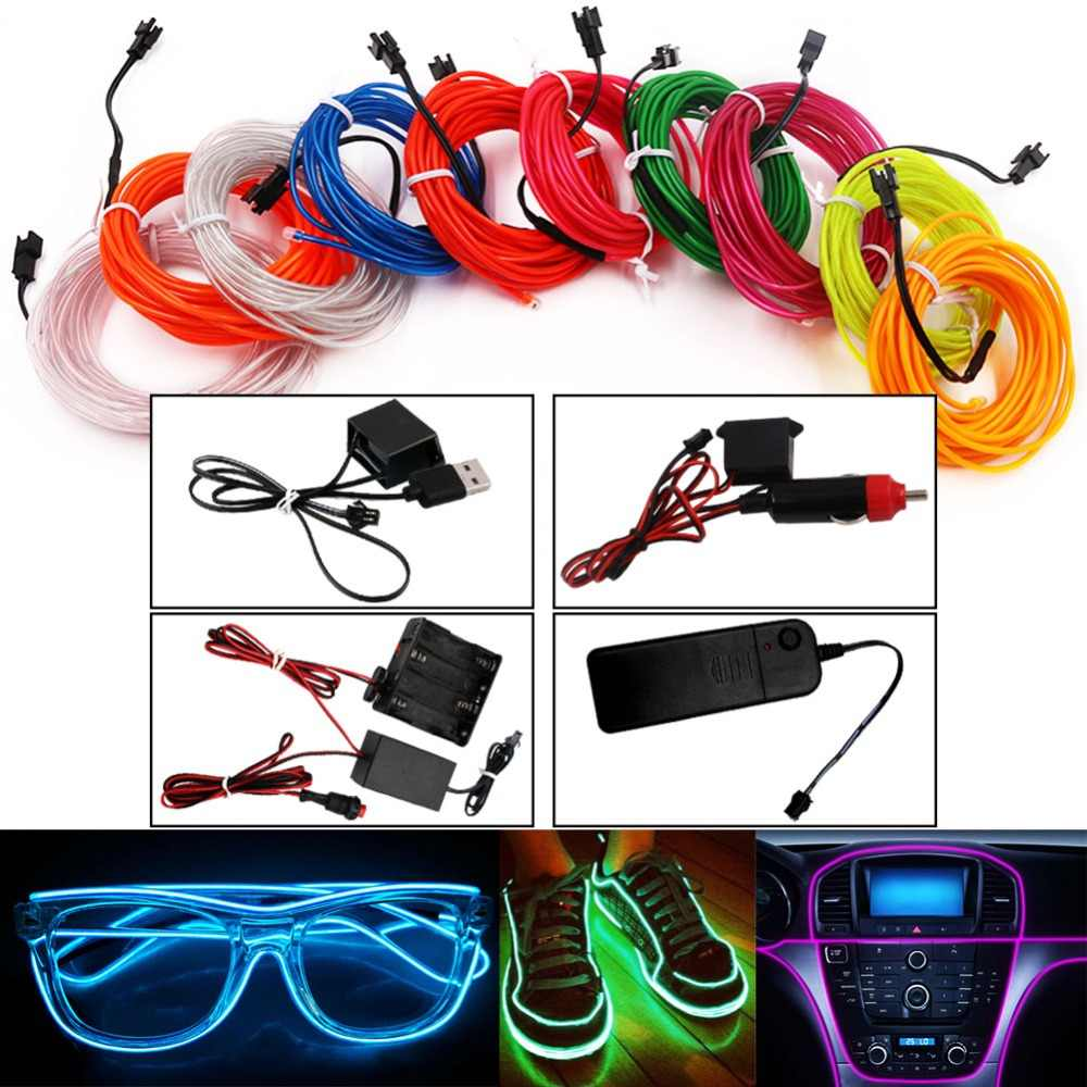 USB/Car Cigarette/AA Battery Flexible Neon Light Glow EL Wire String Led Strips Light Shoes Clothing Decor Light 1M/3M/5M
