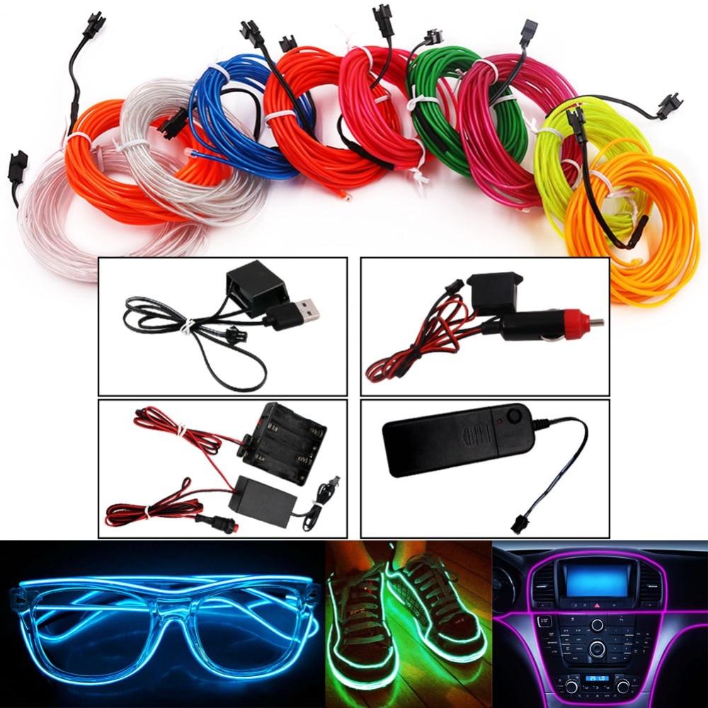 USB/Car Cigarette/AA Battery Flexible Neon Light Glow EL Wire String Led Strips Light Shoes Clothing Decor Light 1M/3M/5M