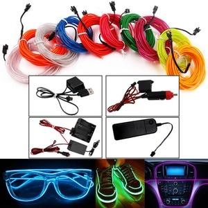 USB/Car Cigarette/AA Battery Flexible Neon Light Glow EL Wire String Led Strips Light Shoes Clothing Decor Light 1M/3M/5M(China)