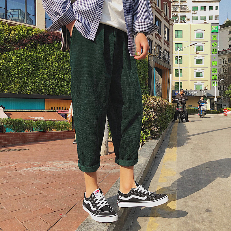 2018 Korean Style New Mens Cotton Fashion Trend Loose Green/brown Color Casual Haren Pants Youth Large Size Trousers M-5XL