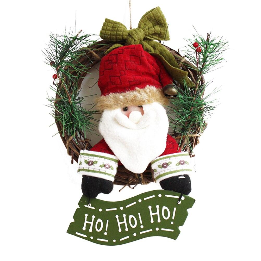 30cm Christmas Wreath For Front Door Hang Garland With Santa Claus Snowman  Ornaments Natural Rattan Wreath Holiday Door Hanger