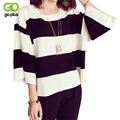 GOPLUS 2017 New Autumn Winter Black White Striped Women Sweaters And Pullovers Loose jumper poncho sudaderas Women Shirts Tops