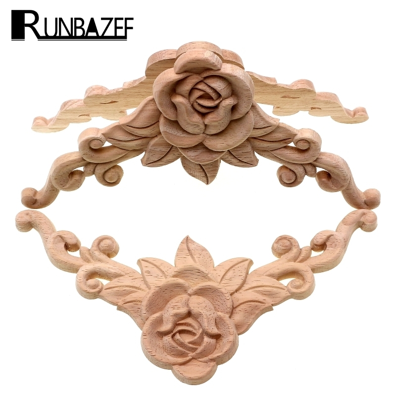 RUNBAZEF   SRose  Floral Wood Carved Decal Corner Applique Decorate Frame Wooden Figurines Cabinet Decorative Crafts
