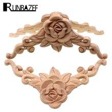 RUNBAZEF SRose Floral Wood Carved Decal Corner Applique Decorate Frame Wooden Figurines Cabinet Decorative Crafts