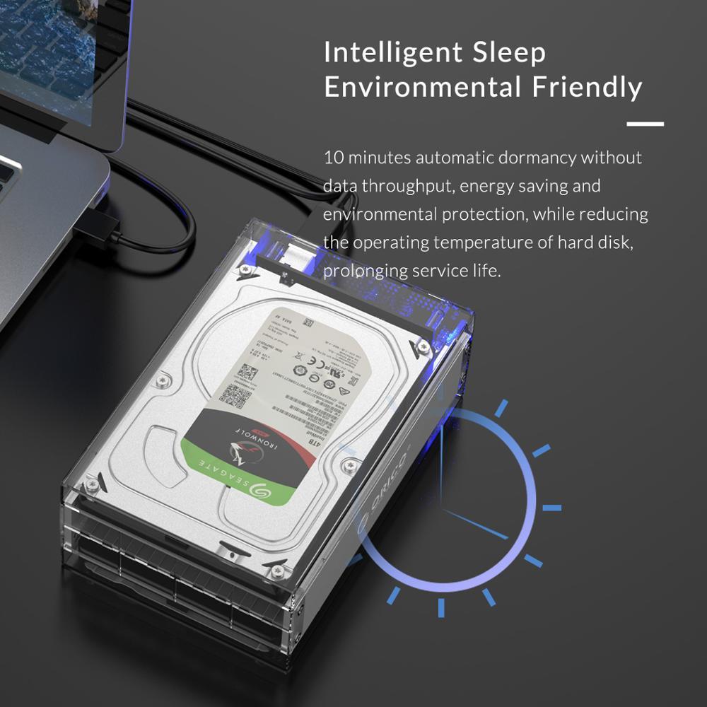 ORICO 3.5 pouces 2 baie boîtier de disque dur boîtier de disque externe Transparent SATA à USB3.0 type-b boîtier de disque dur avec adaptateur secteur 12V3A - 3