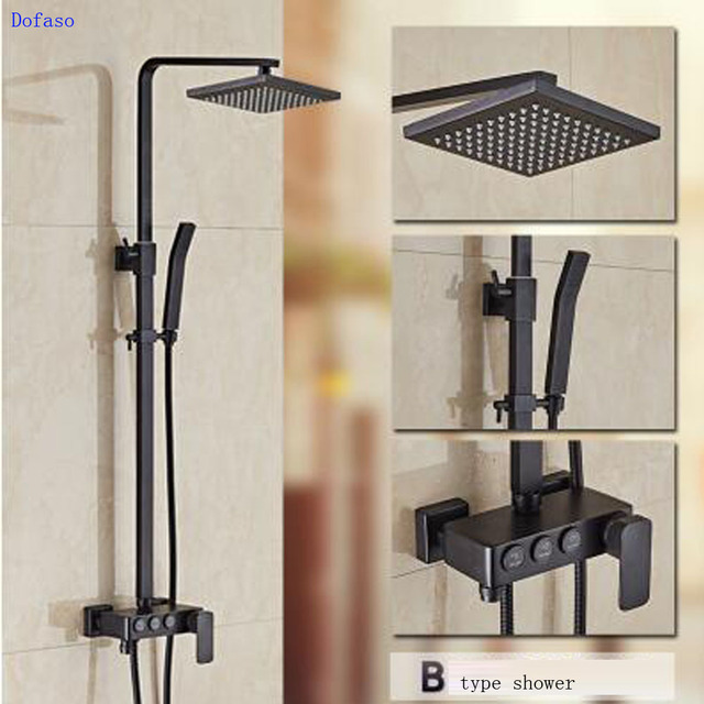 Dofaso Luxury Bath Shower Faucets Oil Rubbed Bronze Panels Rainfall Set Waterfall