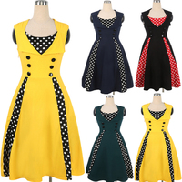 2017 Years Of Hot Sleeveless Wave Point Splicing Jinmian Stretch Large Pompong Retro Dress