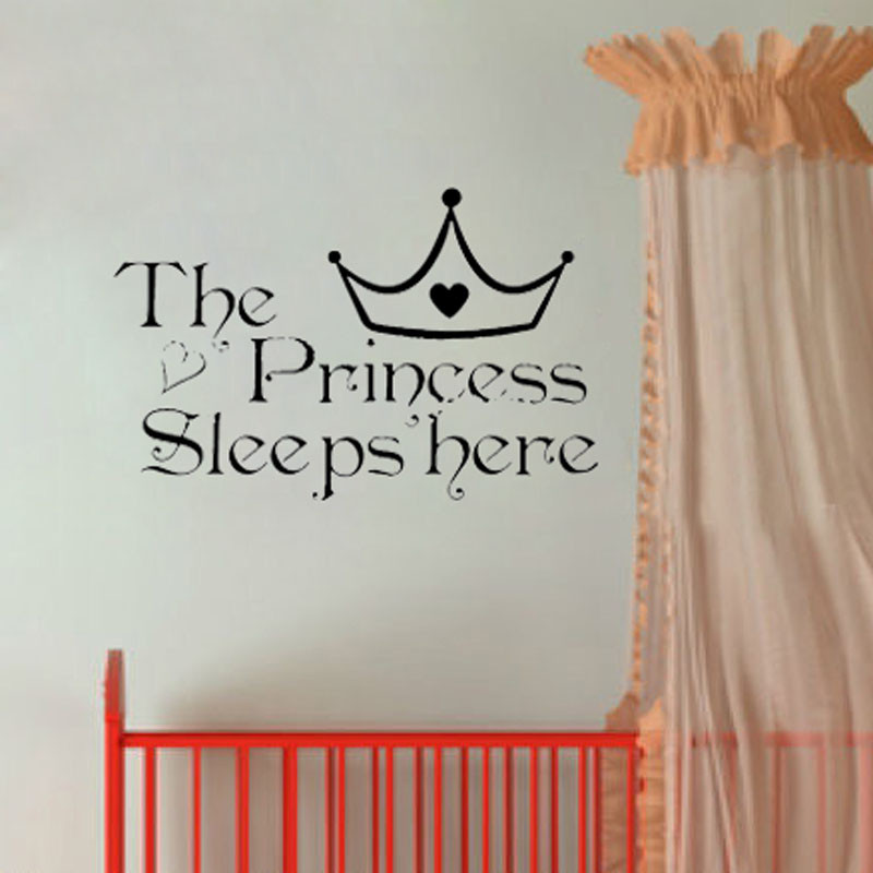1 pc The Princess Wall Sleeps Here wall stickers home decor wall paper for kids rooms diy wall art adesivos de parede de casa ...
