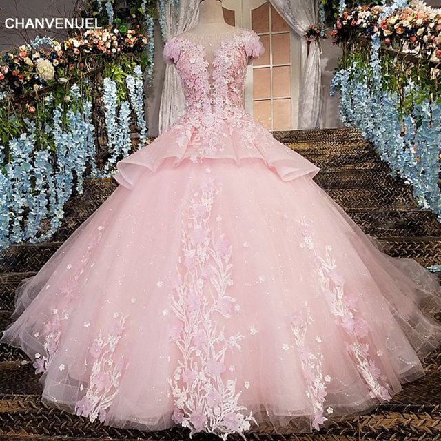 LS00196 robe de soiree longue zipper back floor length cap sleeves ball gown 3D flowers luxury pink evening dresses real photos