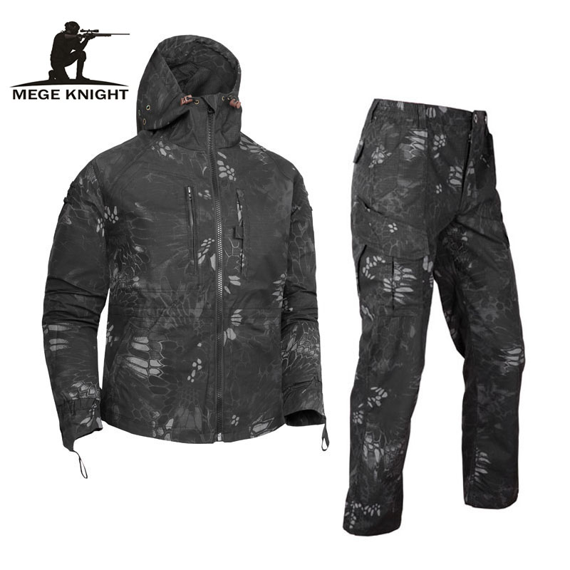 MEGE Brand Dropshipping Military Clothing Tactical Camouflage Suit Set Army Hooded Jacket and Pants Combat Military Uniform lurker shark skin soft shell v4 military tactical jacket men waterproof windproof warm coat camouflage hooded camo army clothing