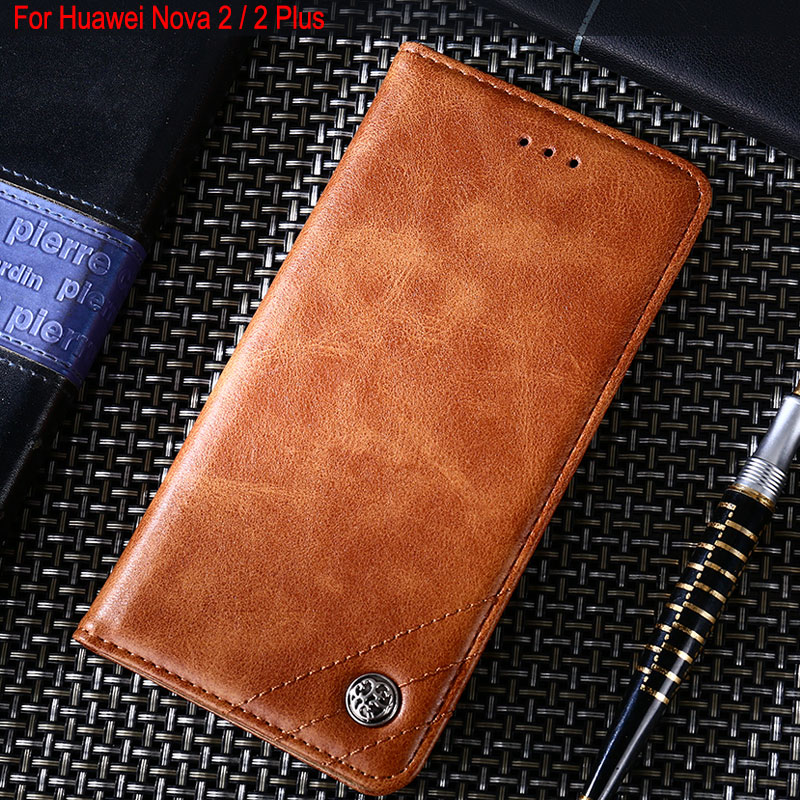 Flip-Cover-Stand Huawei Nova Magnets Vintage Cases Plus Luxury Leather Without For 2