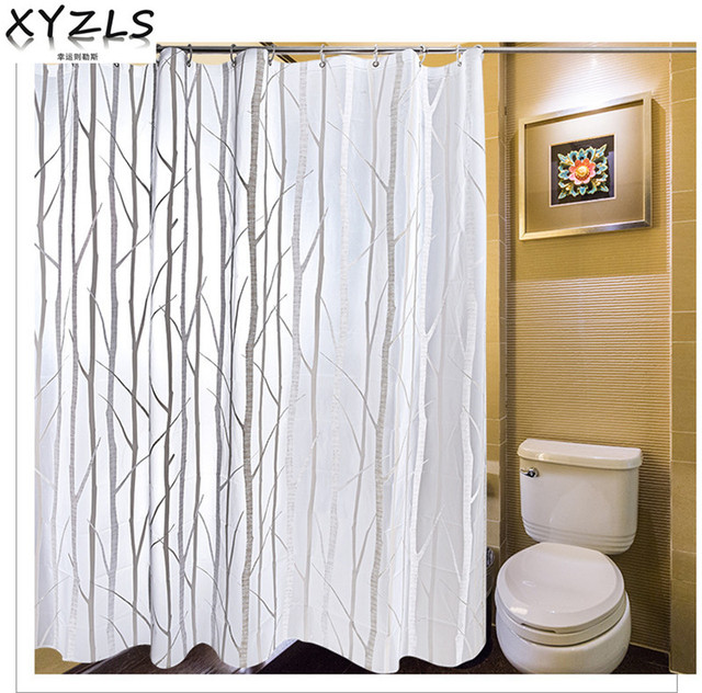 XYZLS Brand High Quality Tree Branch PEVA Eco Friendly Shower Curtain Thick Plastic Waterproof Bathroom Curtains 183x183cm
