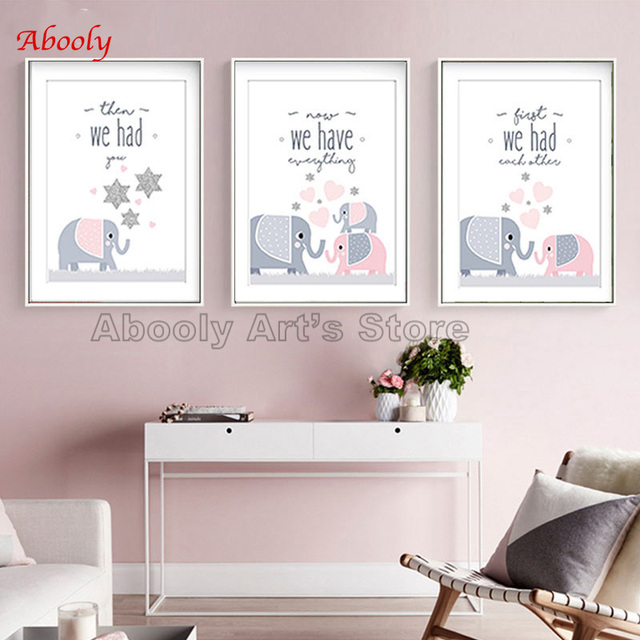 Modern Canvas Art Pink Baby Nursery Prints First We Had Each Other Then You