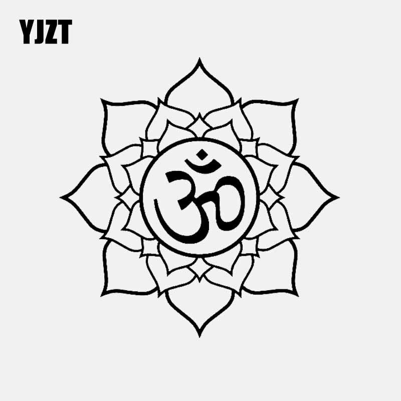 YJZT 14.7CM*14.7CM Om Symbol On Lotus Vinyl Decal Car Sticker Buddhism Black/Silver C3-1558