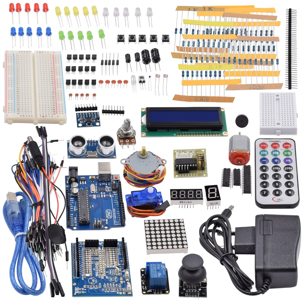 Ultimate Starter Kit incluyendo Sensor ultrasónico, UNO R3, LCD1602 pantalla para Arduino Mega2560 UNO Nano con caja de plástico