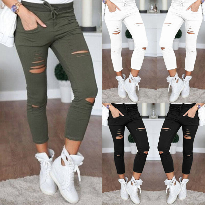 2017 fashion Womens Ladies Stretch Faded Ripped Slim Fit Skinny Denim Jeans Size UK 6 8 12 14