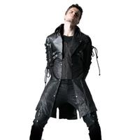 Готическая искусственная кожа мужские длинные пальто полиэстер заклепки повседневные куртки панк длинный рукав Тренч Верхняя одежда