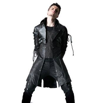 6a26707d5f0 Готический из искусственной кожи для мужчин длинные пальто полиэстер  заклепки повседневные куртки панк с длинным рукавом