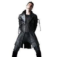 Готический искусственная кожа Для мужчин длинные пальто полиэстер с заклепками повседневные куртки панк с длинным рукавом Тренч верхняя о