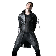 Gothic PU Leather Men Long Coats Polyester Rivet Casual Jackets Punk Long Sleeve Trench