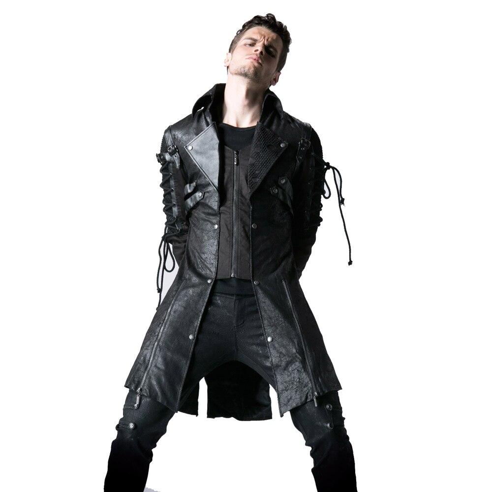 Gothique PU cuir hommes longs manteaux Polyester Rivet vestes décontractée Punk à manches longues Trench manteau Outwear