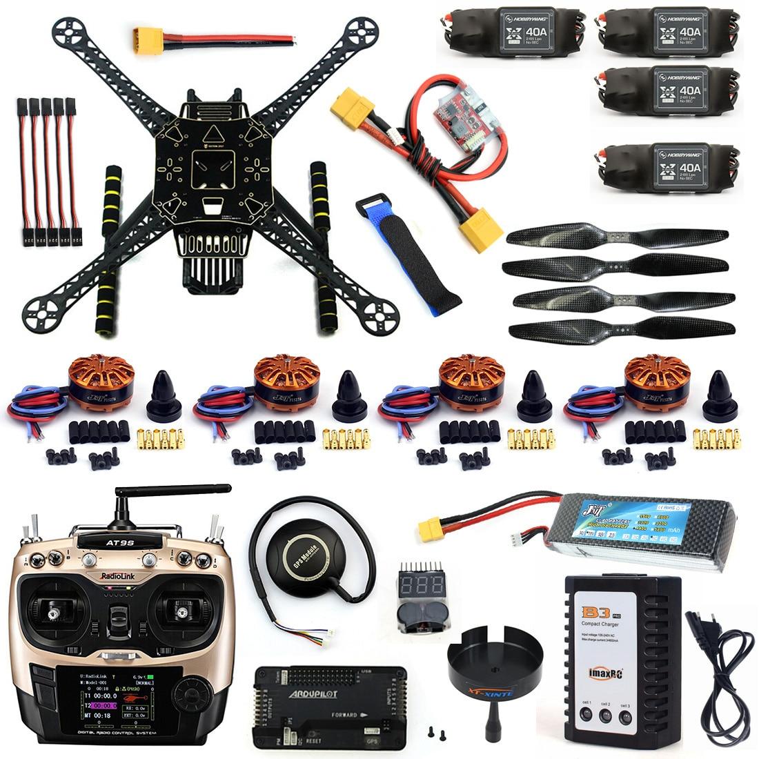 BRICOLAGE Démontées Plein Quadcopter RC FPV Drone S600 Cadre Kit avec APM 2.8 Pas de Boussole 700KV Moteur 40A ESC Batterie Chargeur AT9S TX