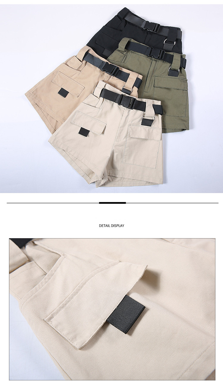 3XL Plus Size Women Summer Shorts With Belt 2019 Fashion Casual Streetwear Cargo Shorts Feminino BF Style Army Green Short Femme 37