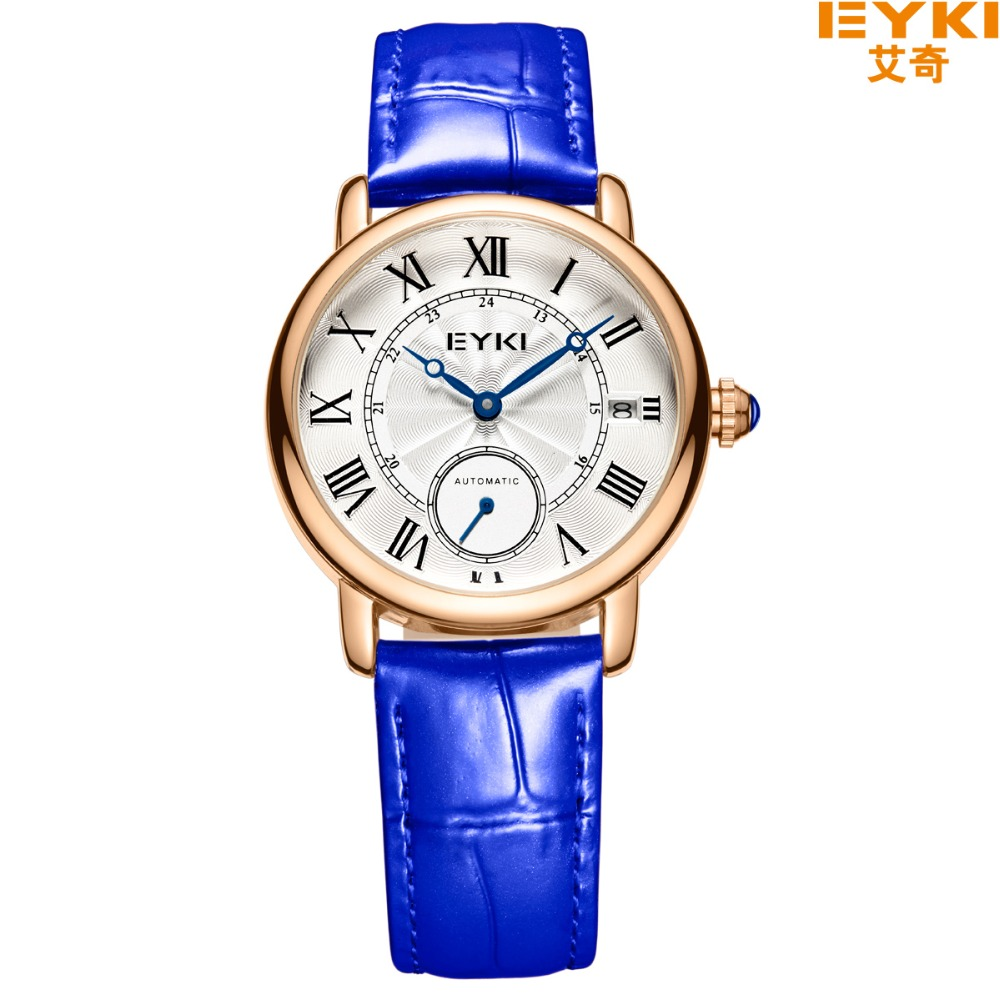 EYKI Brand Women Automatic Mechanical Watch Rome scale Small Seconds Away Leather Watches Perspective Case Back Wristwatch Reloj replica omega de ville coaxial small seconds prestige small seconds series