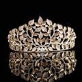 Luxury Vintage Baroque Leaf Gold Crowns Tiaras Crystal Wedding Hair Accessories Head Jewelry Bridal Large Tiara And Crown