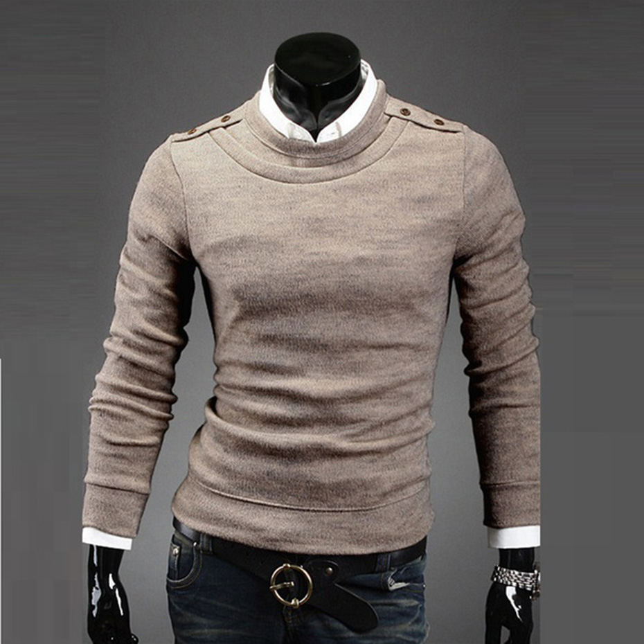 Zogaa Autumn Spring New Men's Sweater Solid Color Round Neck Men's Base Sweater Pullover Warm Clothes Male Clothing 2019