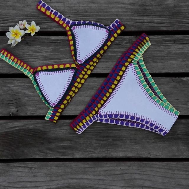 Sexy crochet colorfull  elastic bikini  NEOPRENE-BIKINI-Swimsuit-Swimwear beachwear