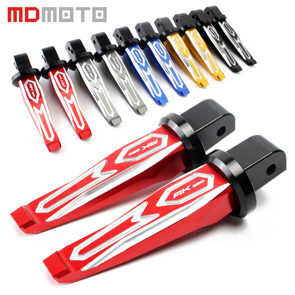Motorcycle Rear Passenger Footrests Foot pegs Foot Rests Pegs Rear Pedals For KYMCO AK550 AK 550 2017 Red black gold titanium