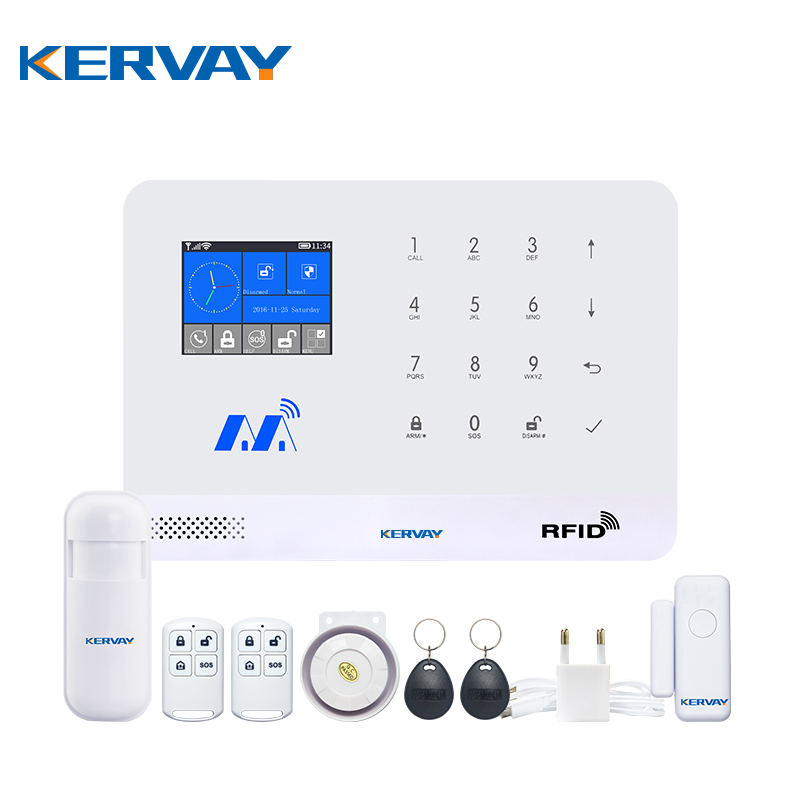 Kervay WIFI GSM RFID Home alarm security system Android IOS APP remote control Door sensor PIR Motion sensor Alarm System Kits wireless gsm sms burglar alarm home security system with pir motion sensor door magnet sensor app control ios android