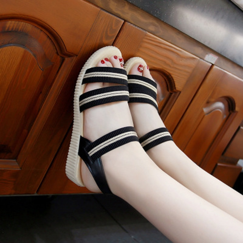 2018 summer new elastic cloth striped sandals women's flat low-heeled student shoes 2