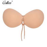 COLLEER Women Silicone Bra Invisible Push Up Stick On Self Adhesive Front Lacing Bras Strapless Lingerie