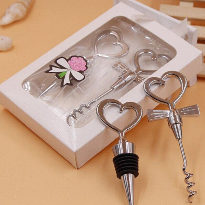 Wine For Wedding Gift: Love Heart Corkscrew Wine Bottle Opener + Wine Stopper