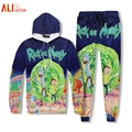 Alisister Rick And Morty Hoodied Set Funny 3d Print Cartoon Sweatshirt+Pants Women Men Harajuku Tracksuits 2 Pieces Plus Size