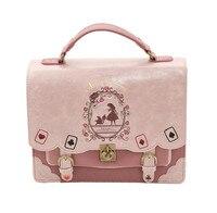 Japón Bolsa de Lolita Style Mujeres Señora Girls Alice in Wonderland Diseñador Bolso Bordado Bolsa de Mensajero Del Bolso de Escuela