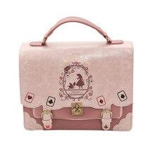 Japonya çantası Lolita tarzı kadın bayan Alice tasarımcı nakış çanta askılı çanta okul çantası