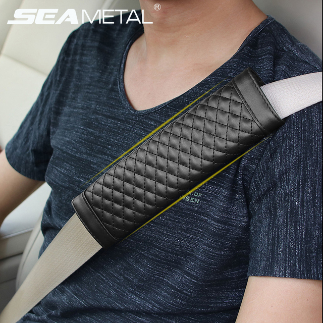 Universal Car Seat Belts Covers 2pcs Man Made Leather Black Auto Padding Belt