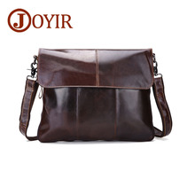 JOYIR Messenger Bags Men Genuine Leather Shoulder Bags Male Casual Zipper Crossbody Bags for Men Cow Leather Travel School Bags fashion badge hardware casual genuine cow leather men shoulder bag crossbody bags school messenger baguette bags for student boy