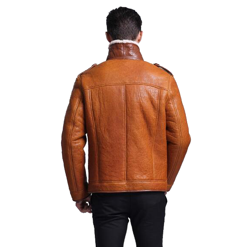 ba84346a129 Leather Jacket Men Shearling Coat Mens Sheepskin Fur Coat Pilot Outerwear  Fashion Slim Genuine Leather Outerwear TJ15-in Genuine Leather Coats from  Men's ...