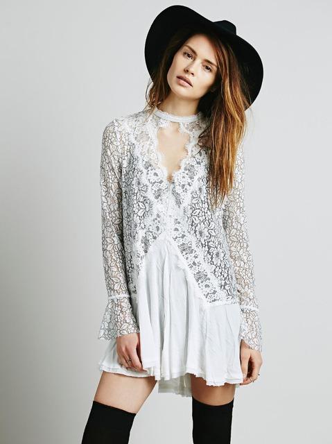 Nave libre del algodón de otoño mini vestido corto del cordón del vestido irregular la gente delgada gancho corto atractivo vestido de boho hippie vestidos de estilo vestido
