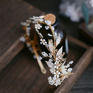 Image 2 - Jonnafe Delicate Gold Leaf Women Prom Headpiece Hairband Floral Bridal Tiara Hair Crown Handmade Wedding Headband Accessories